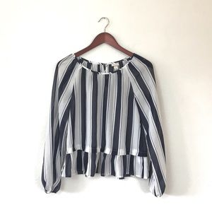 Merona Navy and white Stripe Peplum Blouse